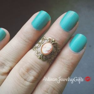 Pink Victorian Lady Cameo Ring Filigree Ring